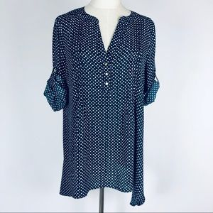 Chaus Print Tunic Top Navy Blue Size M